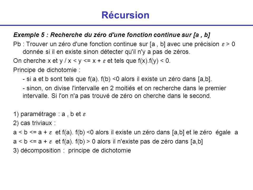 Récursion Exemple 5 : Recherche du zéro d une fonction continue sur [a , b]